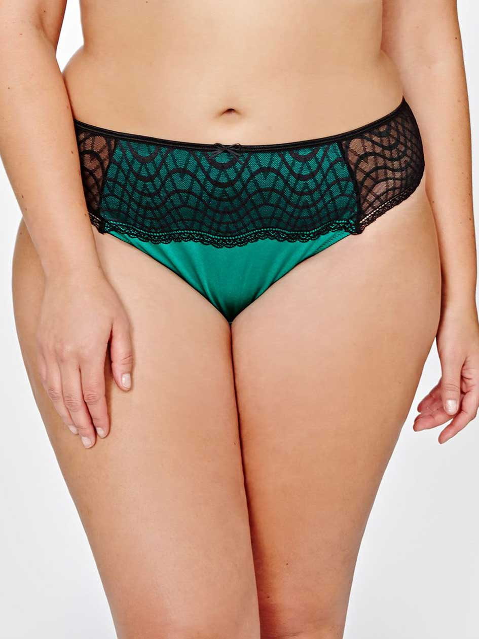 Tanga avec dentelle vert jalousie Ashley Graham