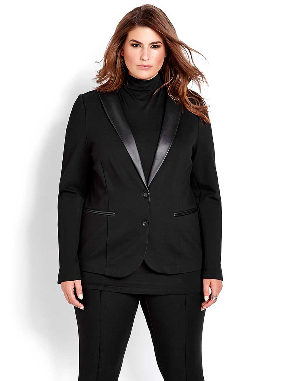 Michel Studio Two-Button Jacket with Pleather Detail