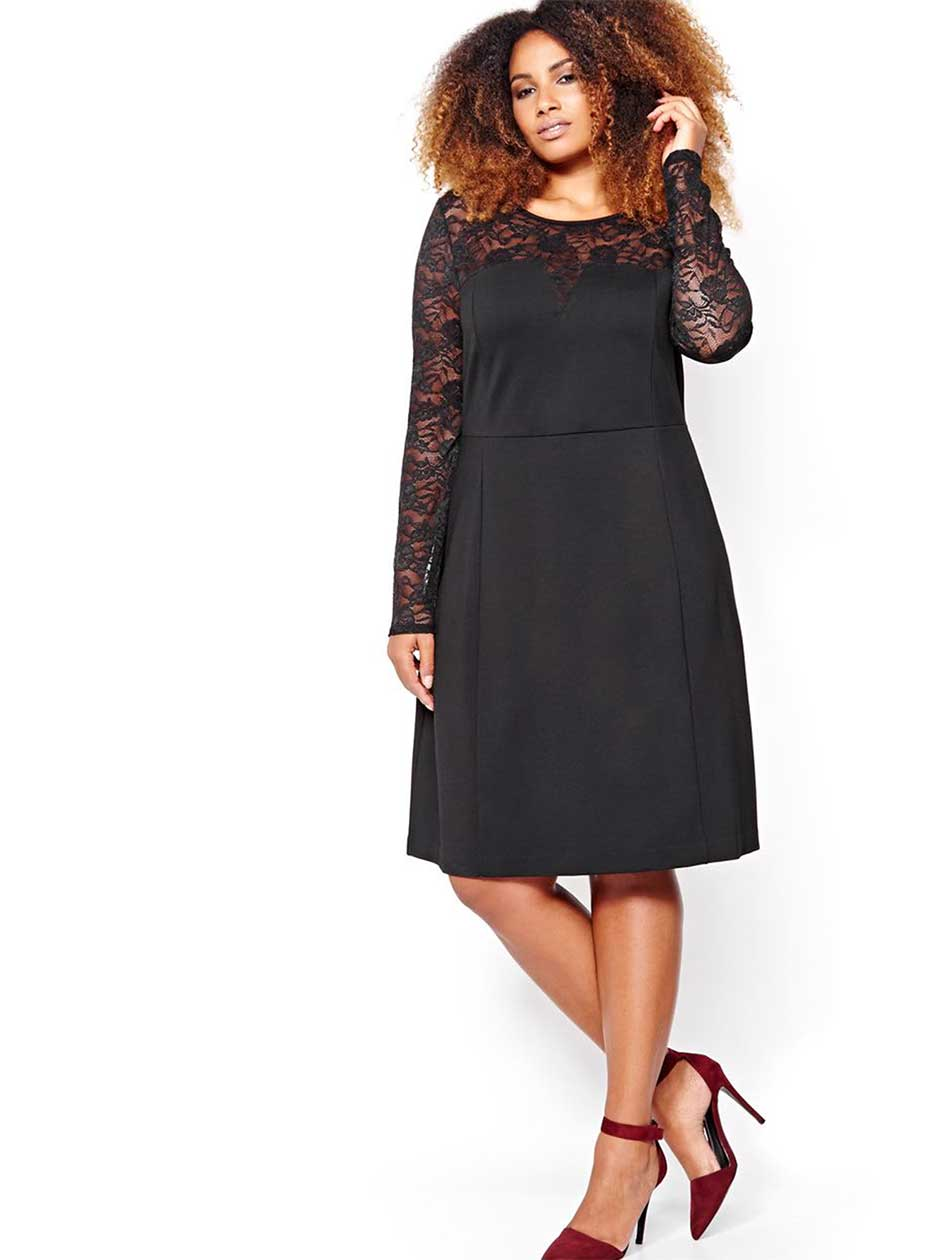 Michel Studio Dress with Lace Sleeves