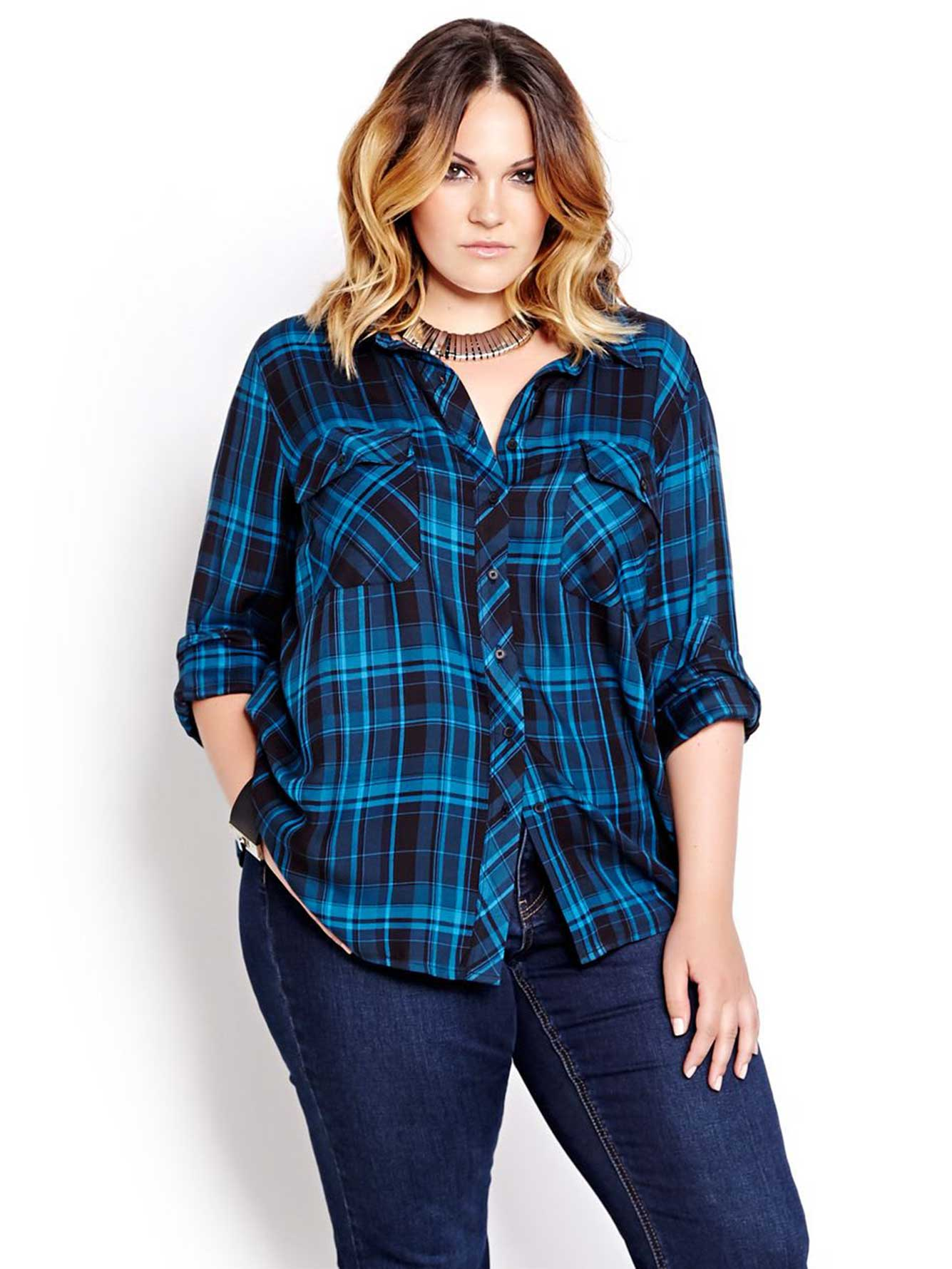 L l long sleeve plaid shirt addition elle for Plaid shirt long sleeve