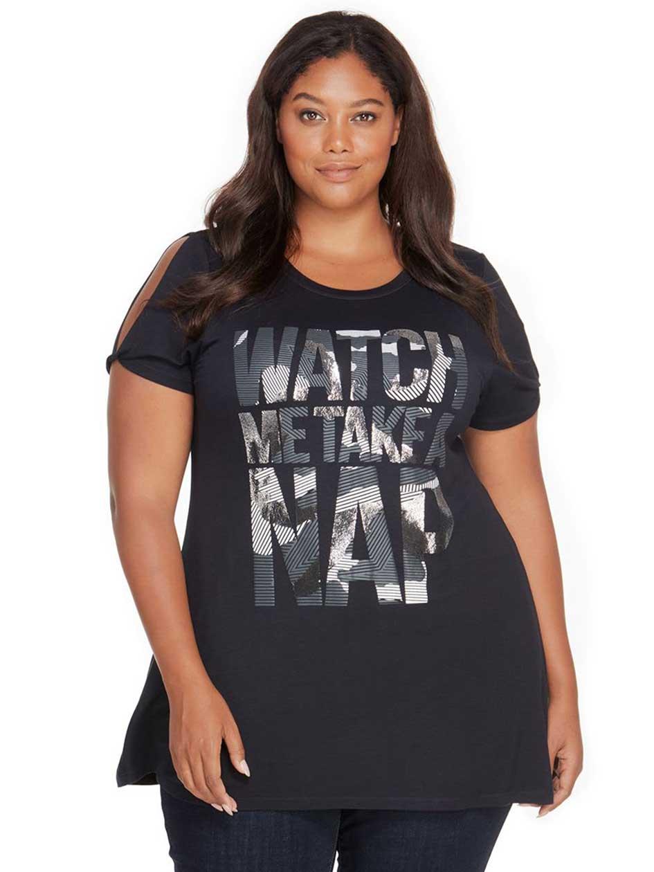 Rebel Wilson Watch Me Take A Nap Graphic Wing Split Shoulder T-Shirt