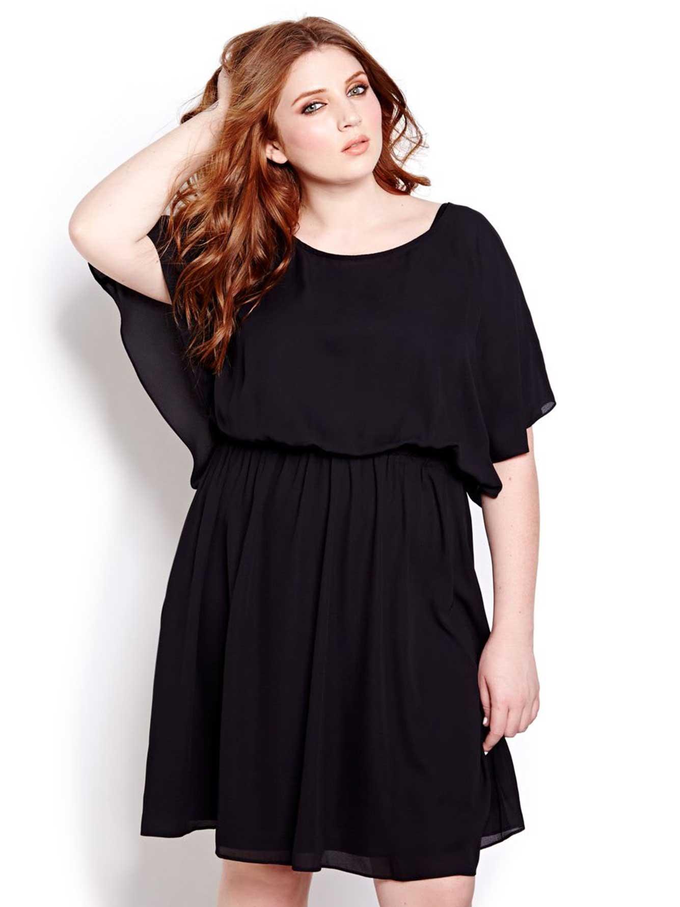 Black dress elle - Fancy Back Chiffon Dress