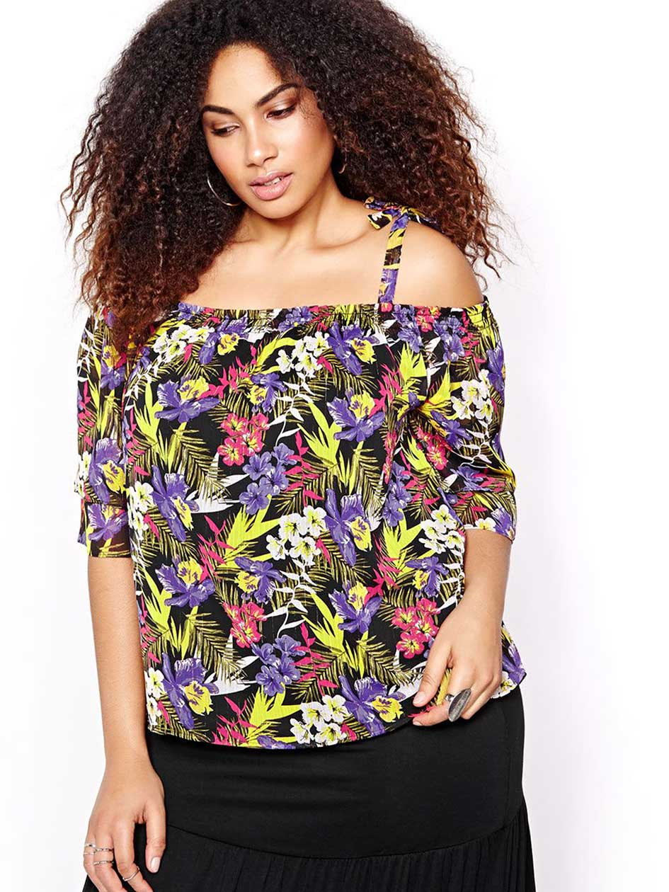 Michel Studio Printed Off-Shoulder Blouse