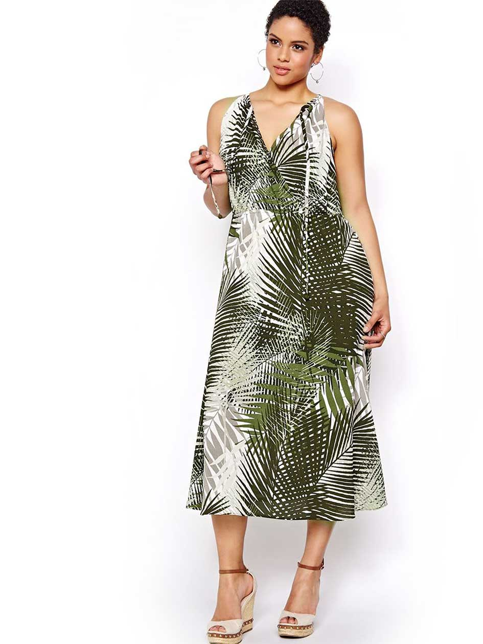 Michel Studio Palm Tree Print Maxi Dress