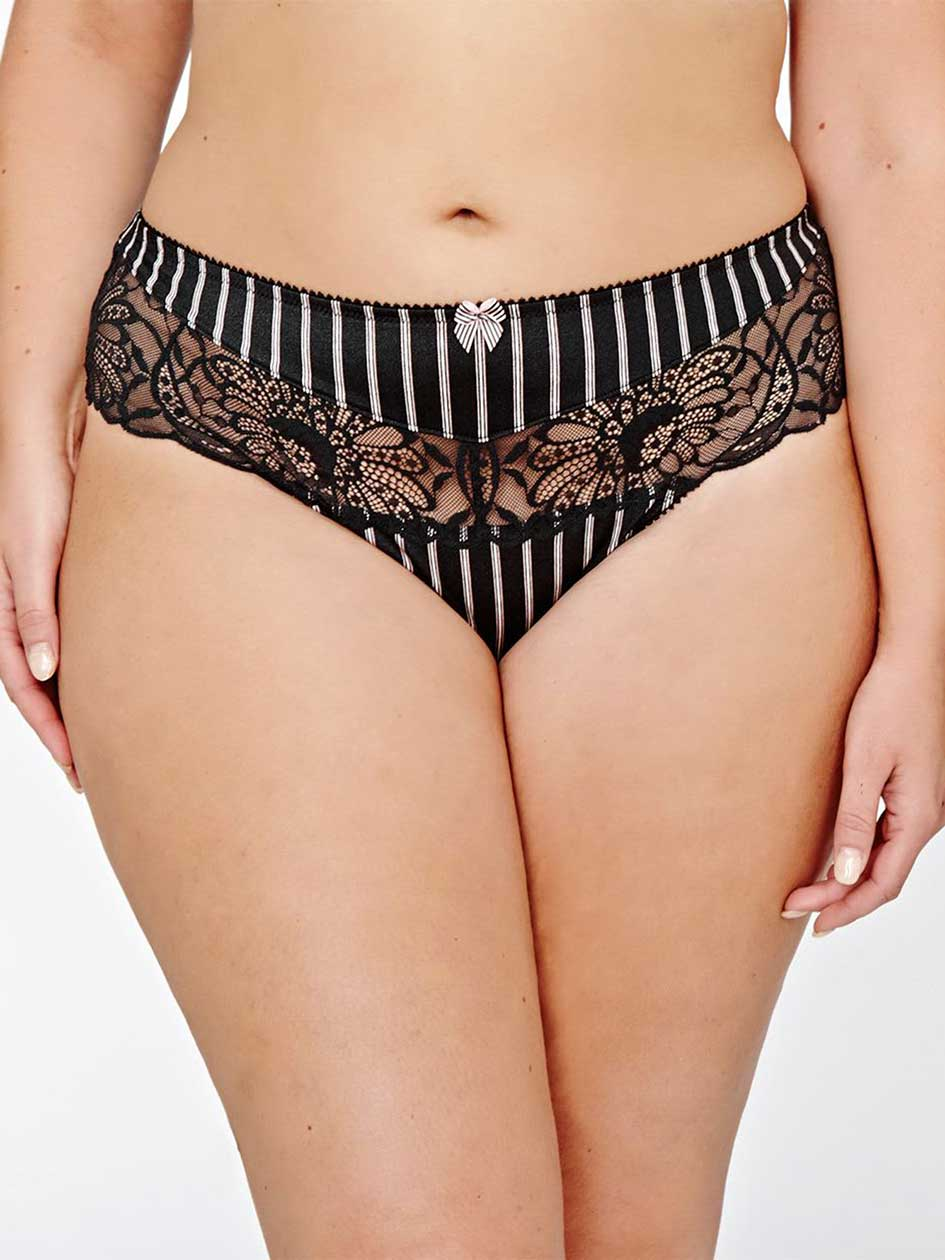 Thong Panty with Lace and Stripes - Déesse Collection