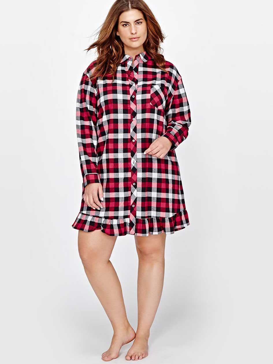 Déesse Plaid Flannel Sleep Shirt