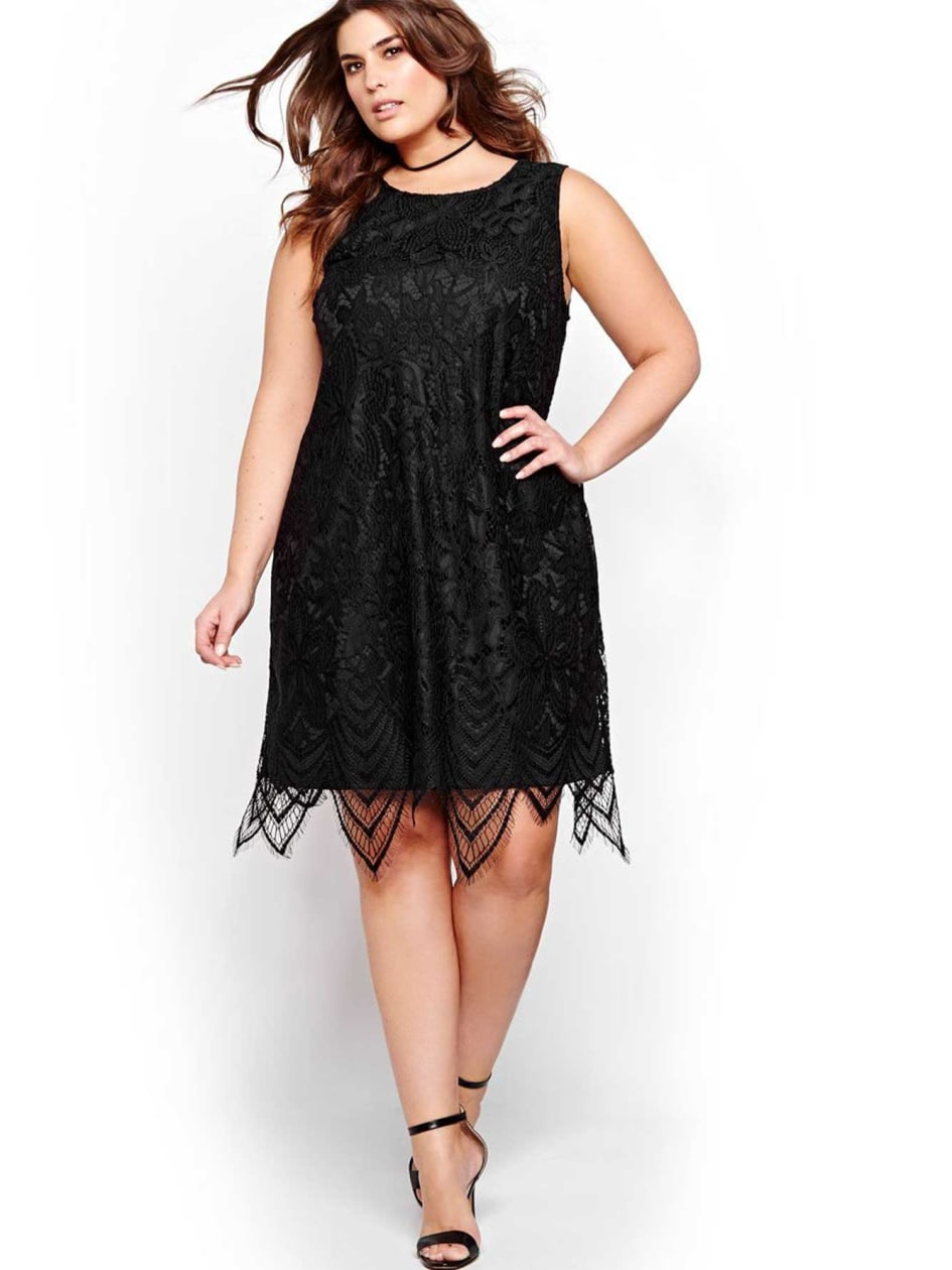 Michel Studio Lace Dress with Scalloped Hem