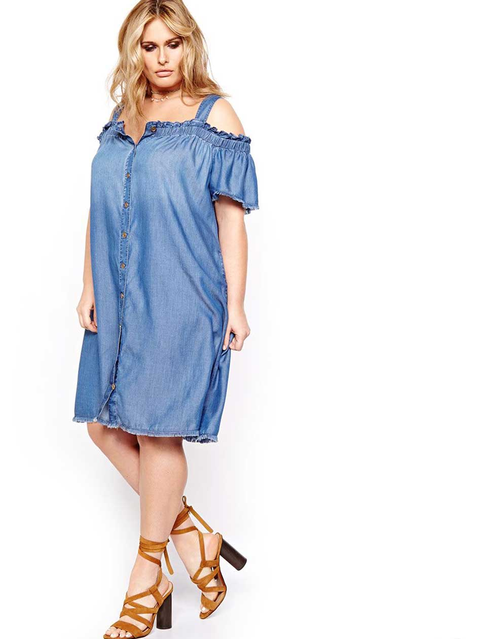 L&L Bardot Dress with Buttons