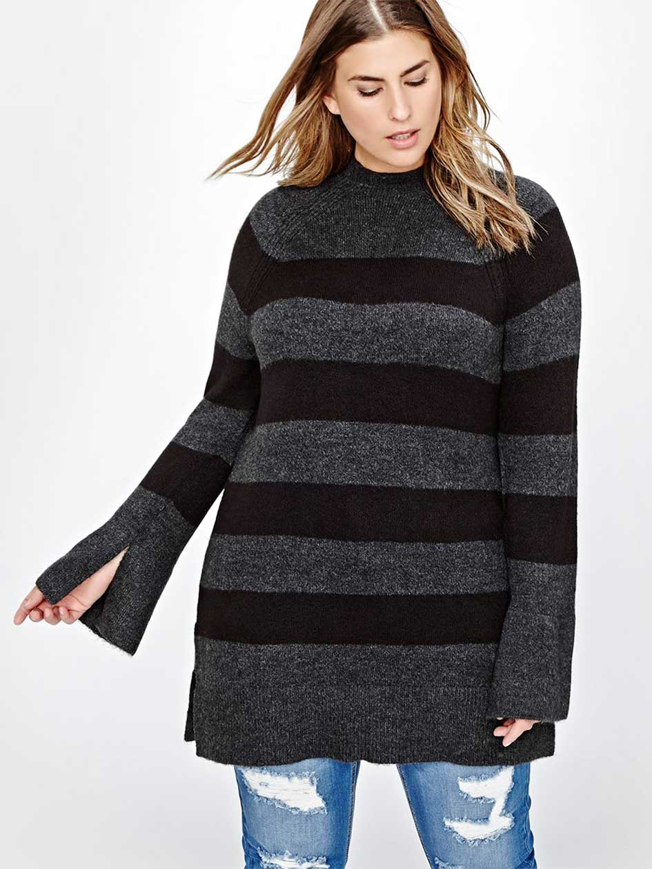 L&L Bell-sleeved Tunic Sweater with Stripes