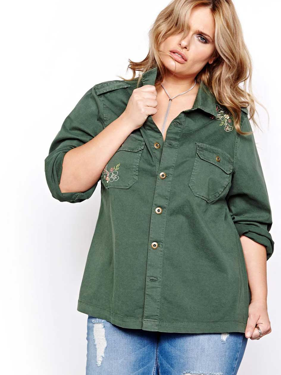 L&L Long Sleeve Military Button Down Jacket