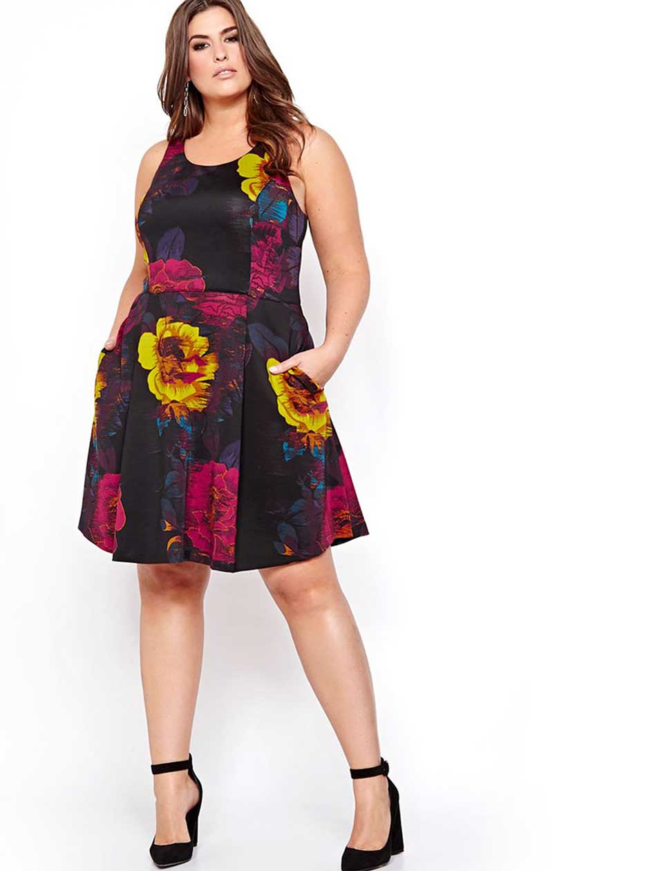 Rachel Roy Fit and Flare Floral Dress
