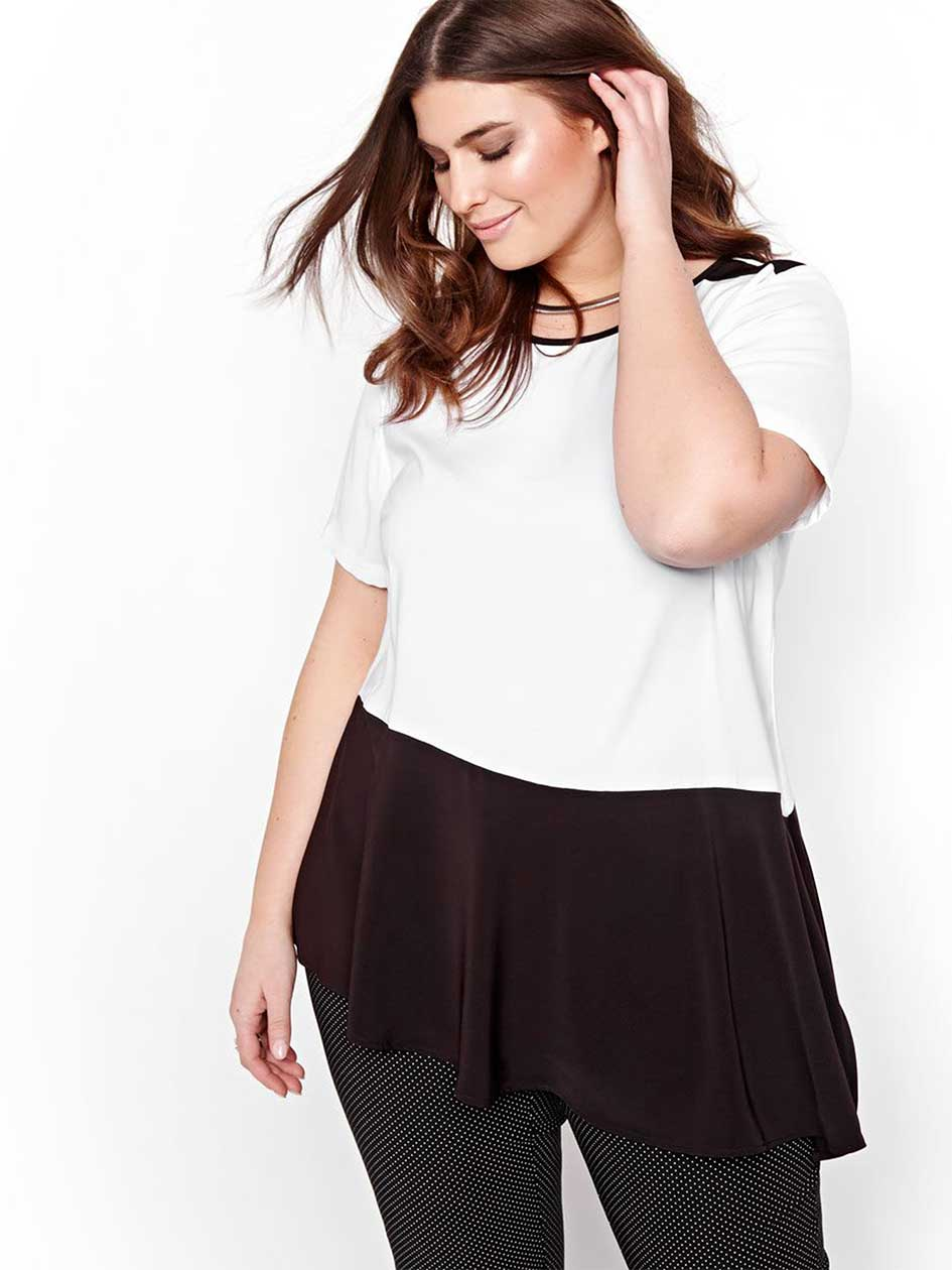 Michel Studio Short-Sleeved Top with Asymmetrical Body