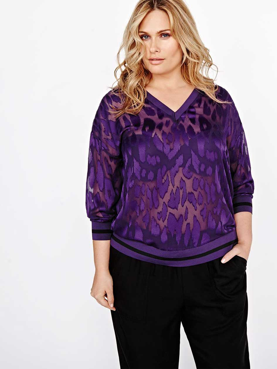 L&L Printed See-Through Blouse