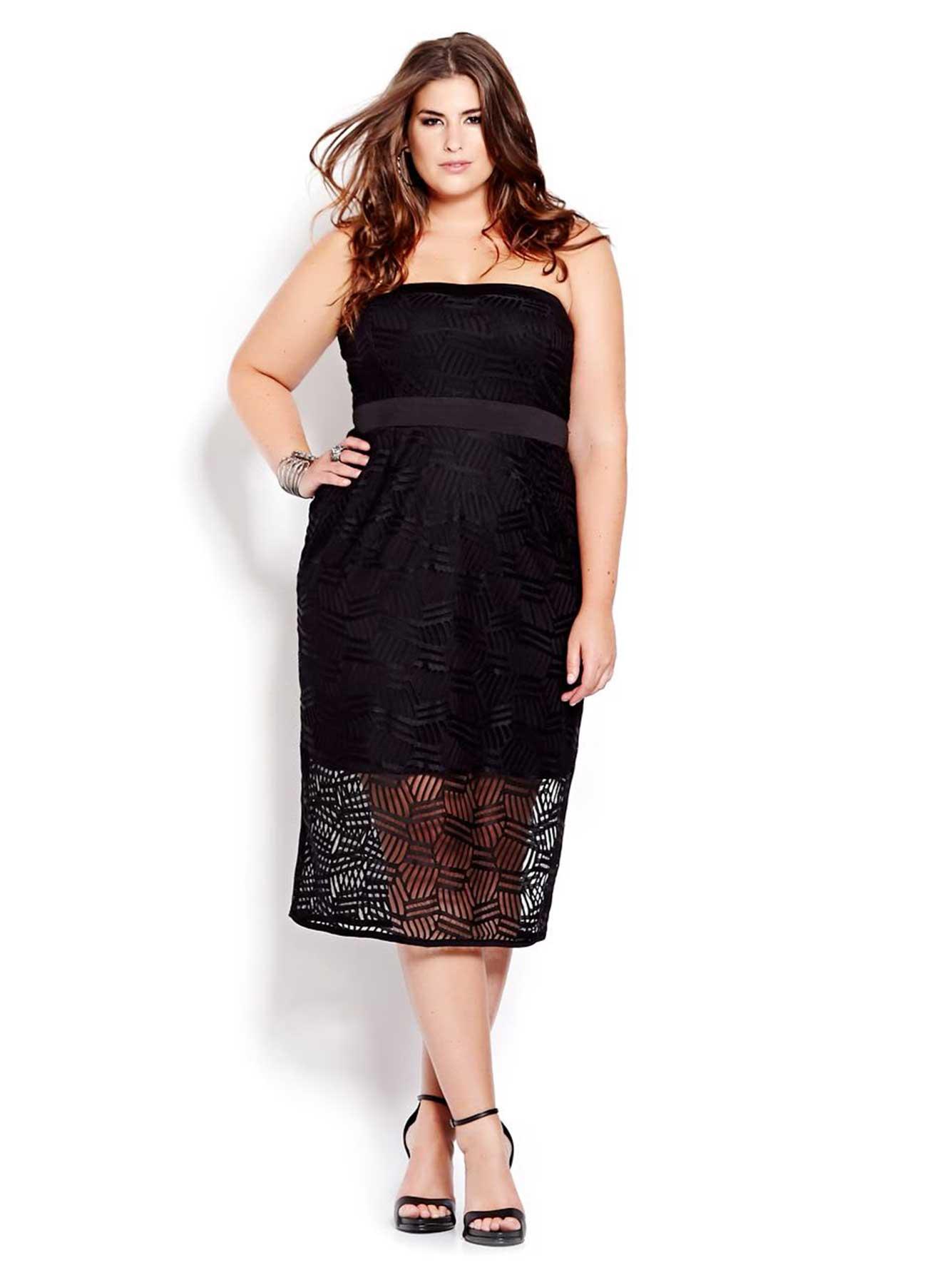 New Noir Geo Lace Strapless Dress Addition Elle