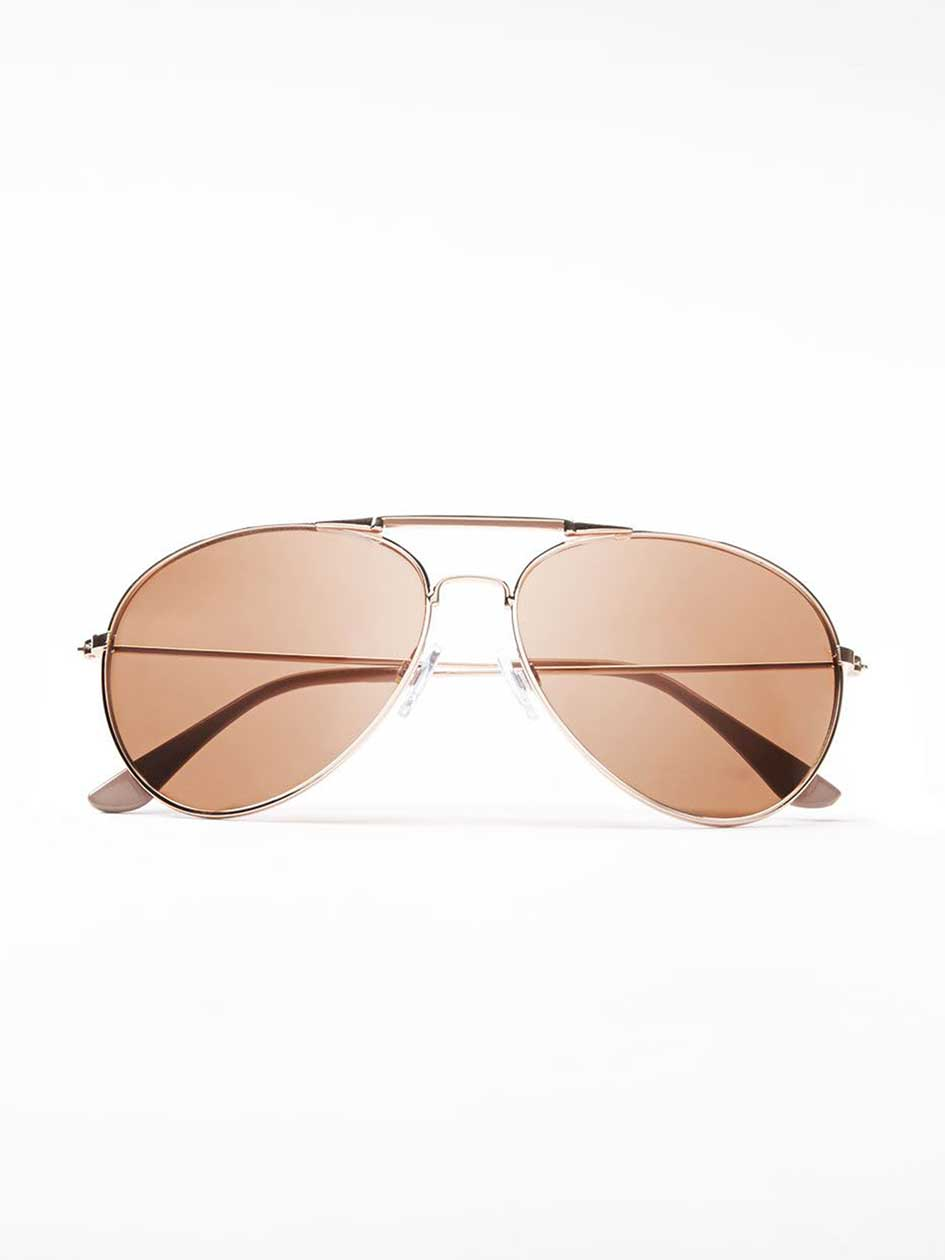 Retro Rose Gold Aviator Sun Glasses