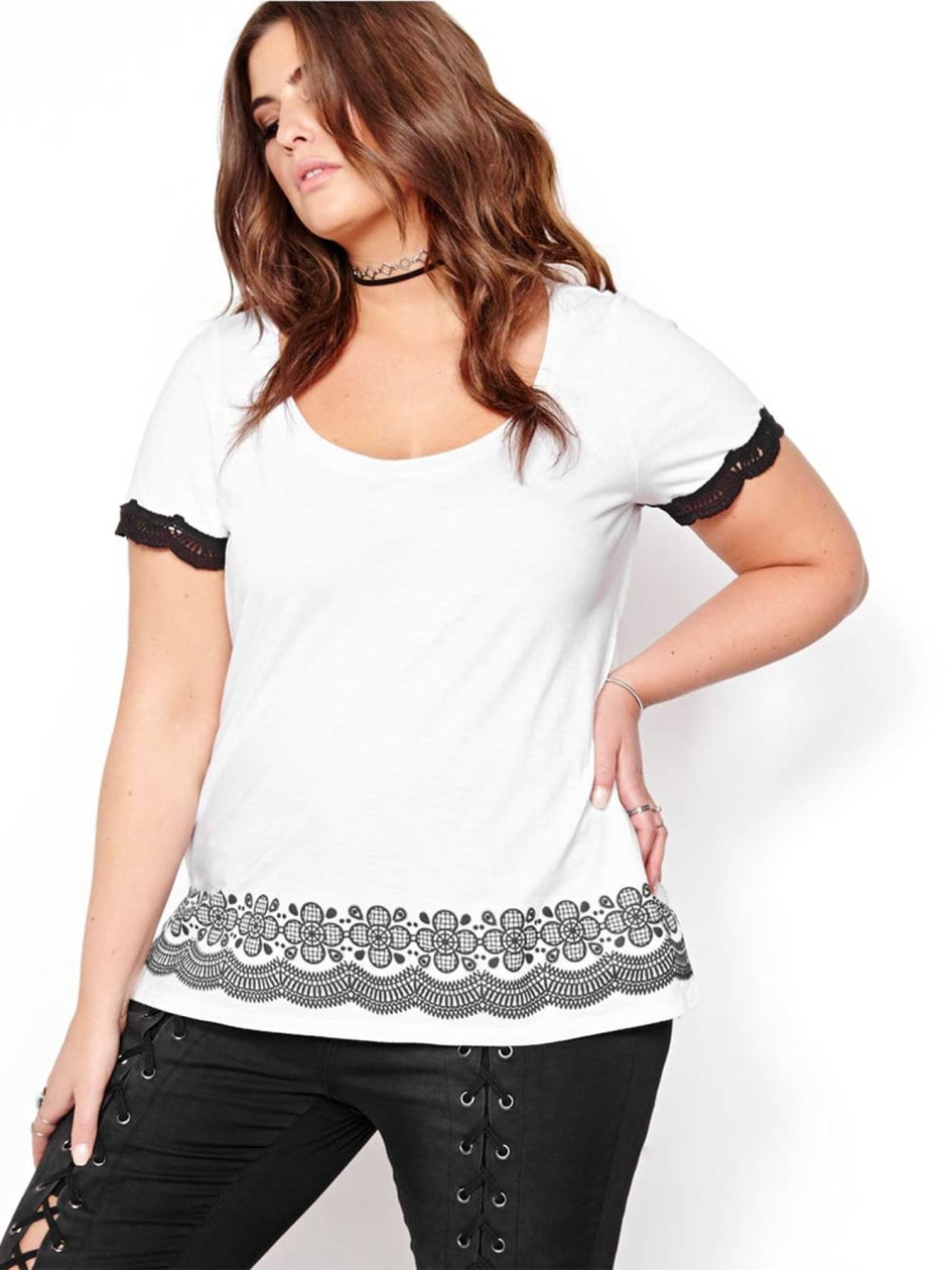 L&L Short Sleeve Top with Printed Front