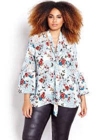 Michel Studio Printed Blouse with a Cravate