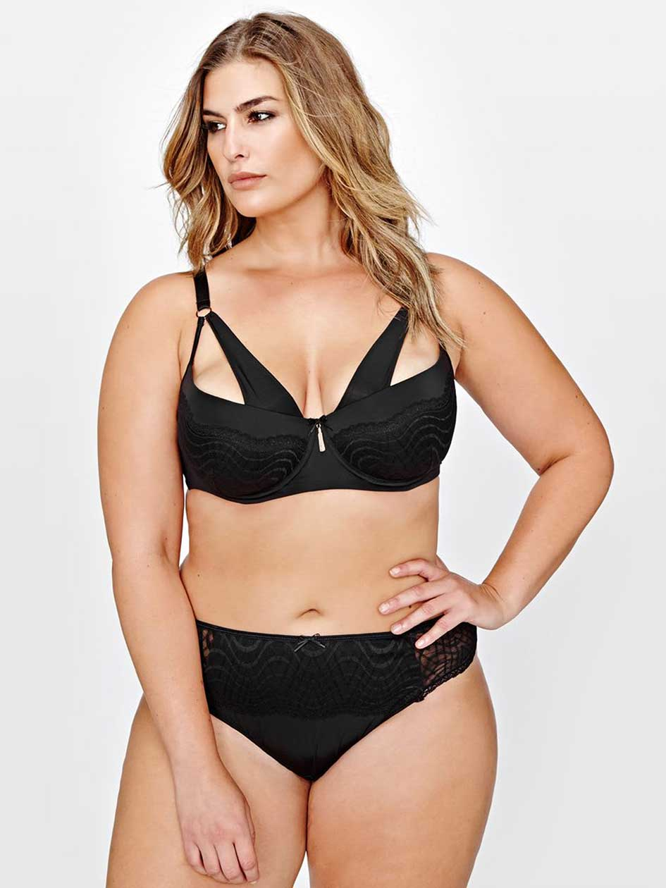 Ashley Graham Diva Lace Demi Cup Bra with Front Strap