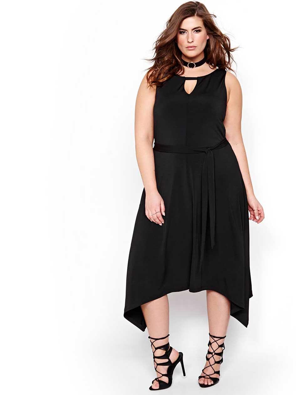 Michel Studio Fit and Flare Solid Handkerchief Dress.Black.X