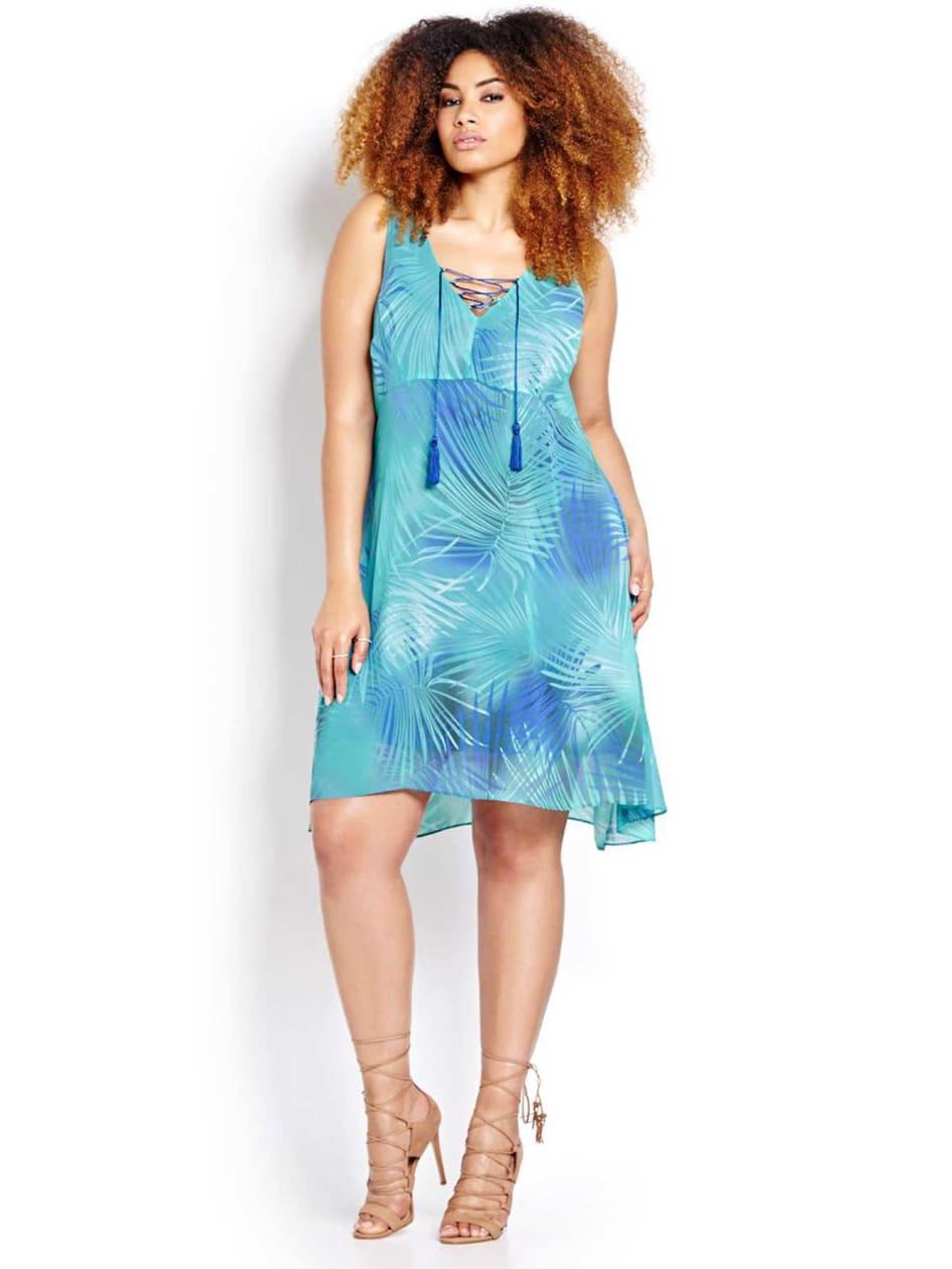 Michel Studio Palm Print Dress