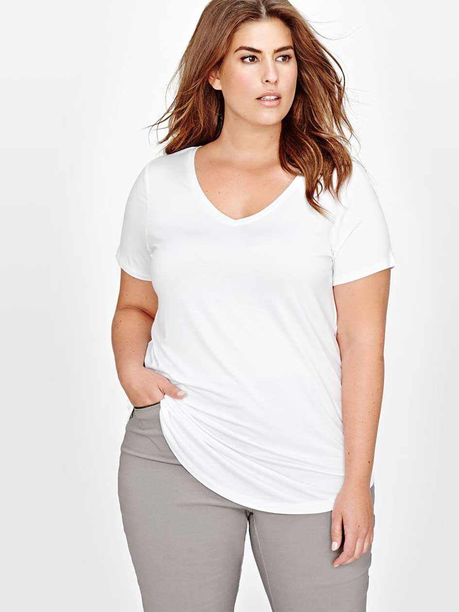 Michel Studio Solid V-Neck Modern Tee