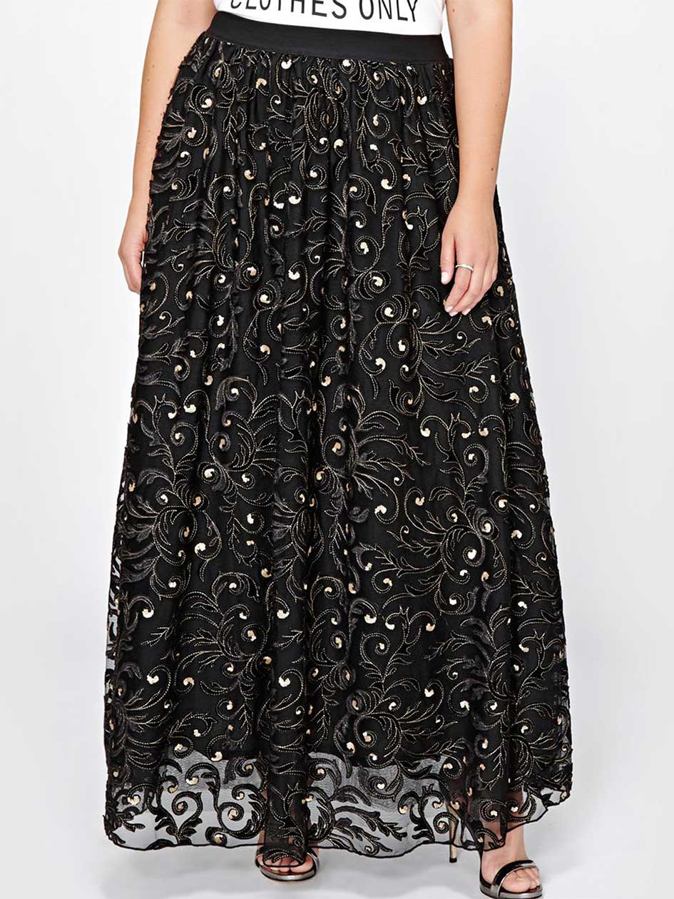 Michel Studio Tulle & Sequins Skirt