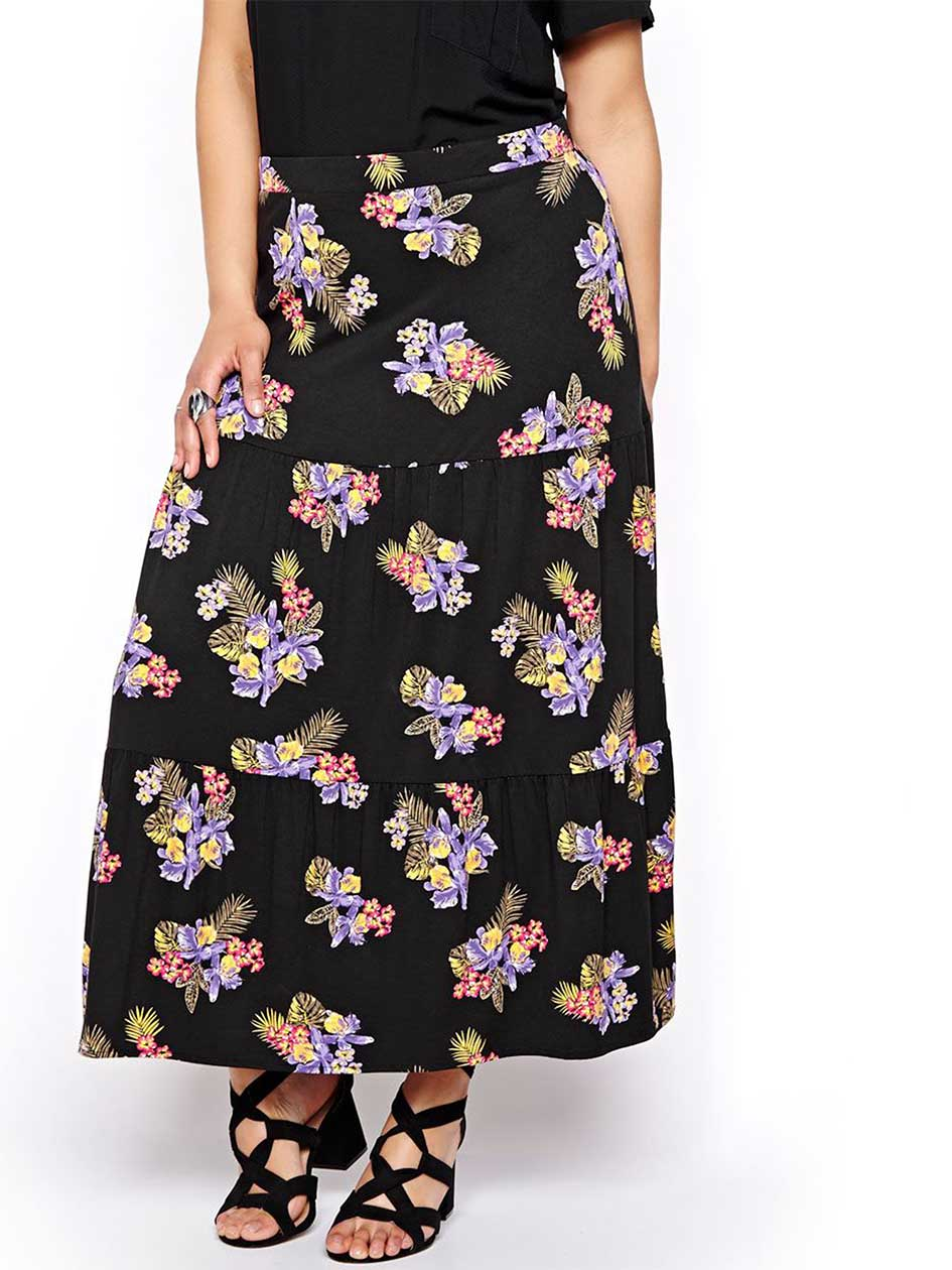 Michel Studio Printed Tiered Maxi Skirt
