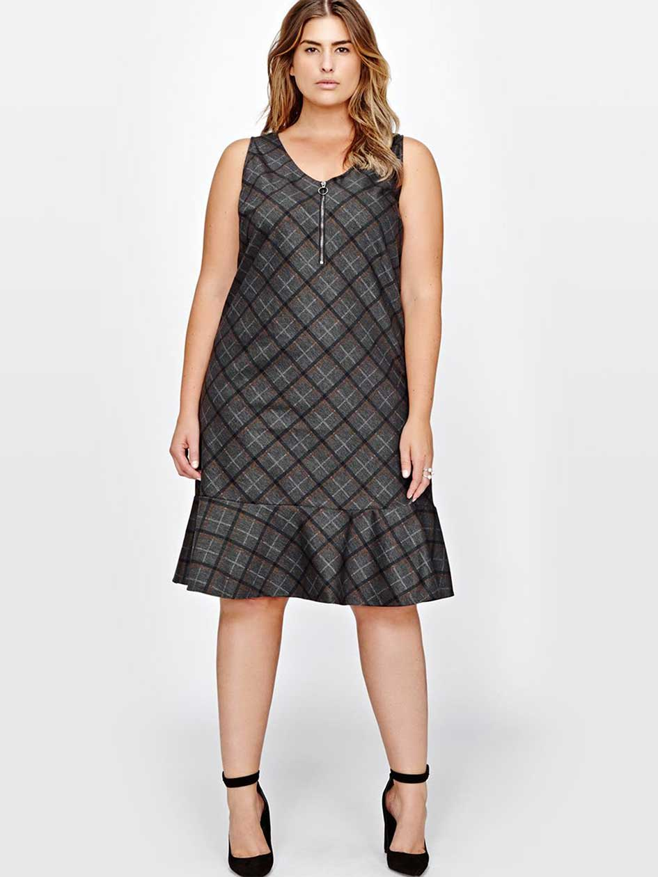 Michel Studio Plaid Shift Dress