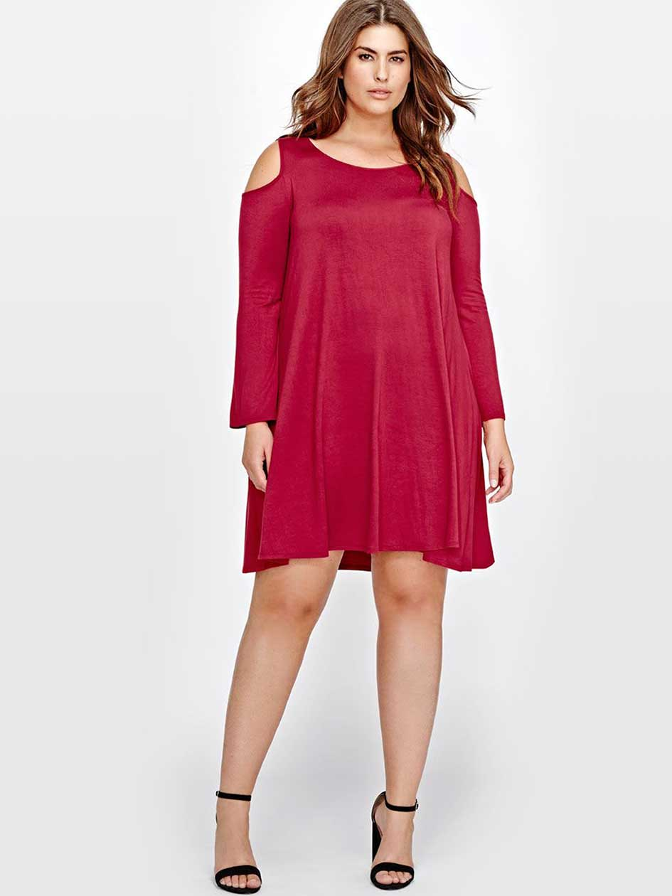 L&L Cold Shoulder Swing Dress