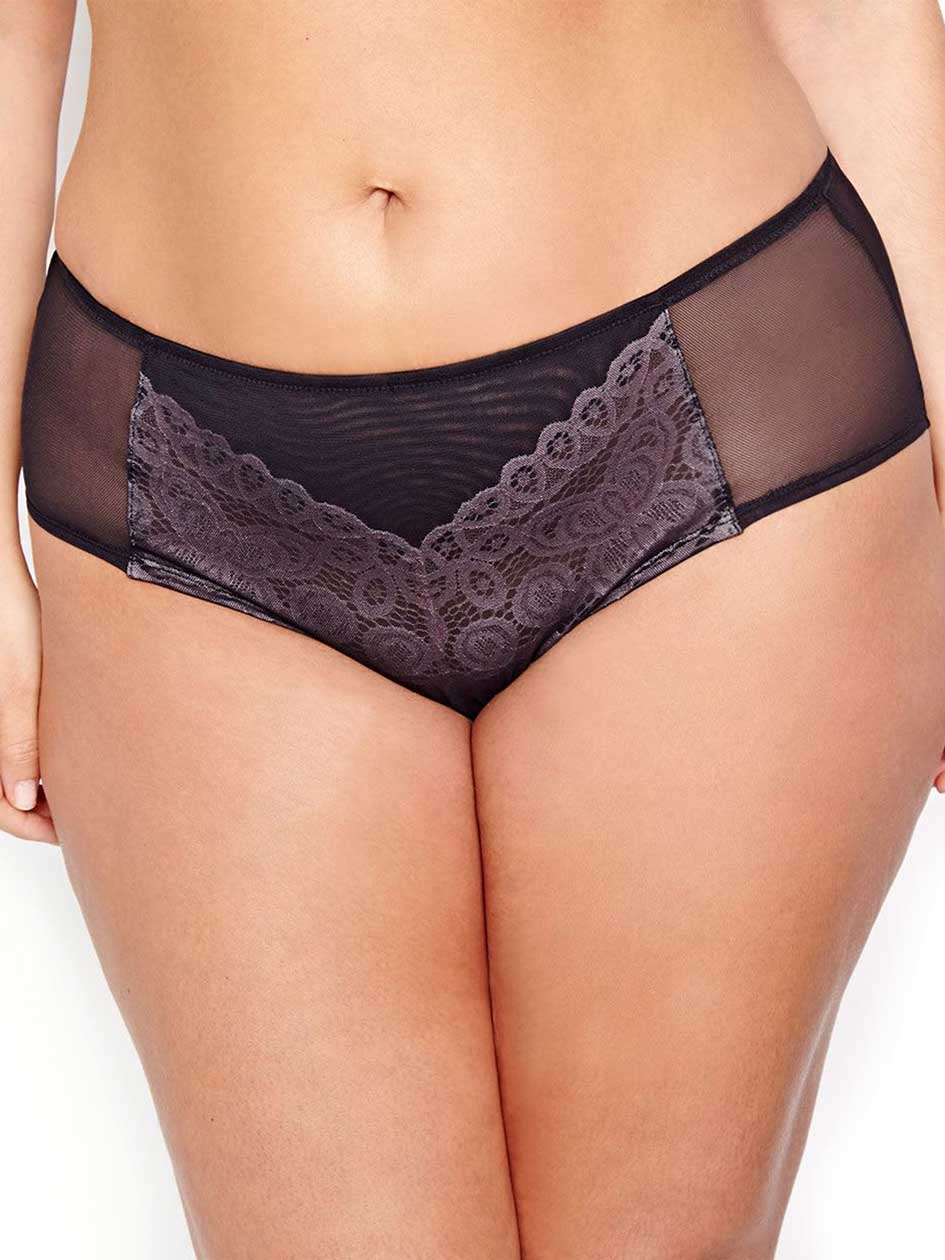 Dark Mesh & Lace Hipster Panty - Déesse Collection