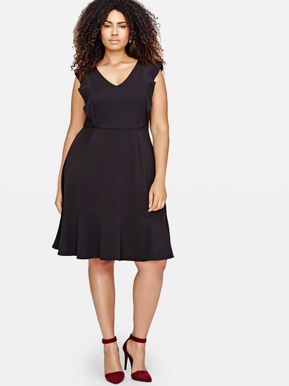 Michel Studio Fit & Flare Ruffled Dress