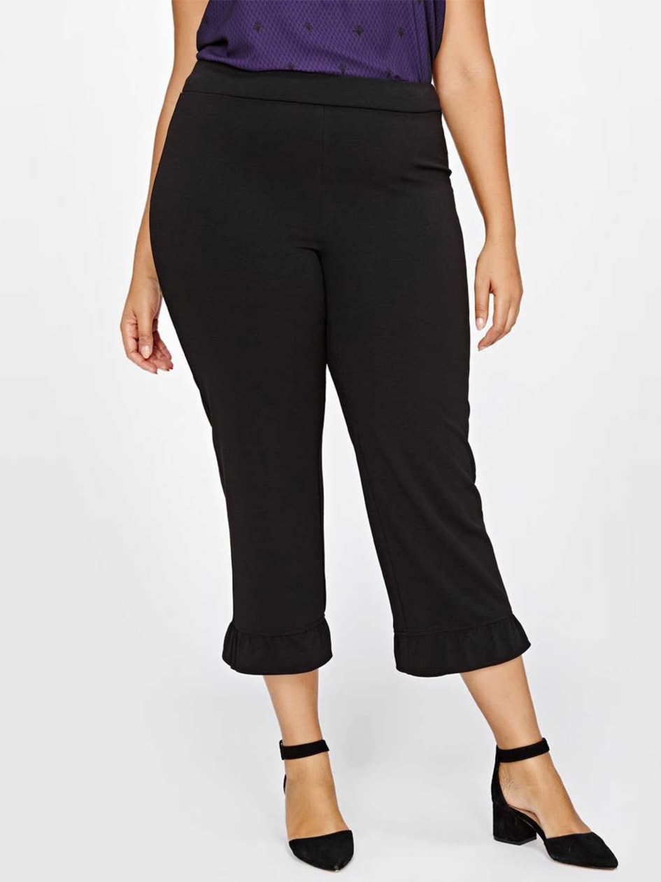 Michel Studio Crop Pant With Ruffle Detail