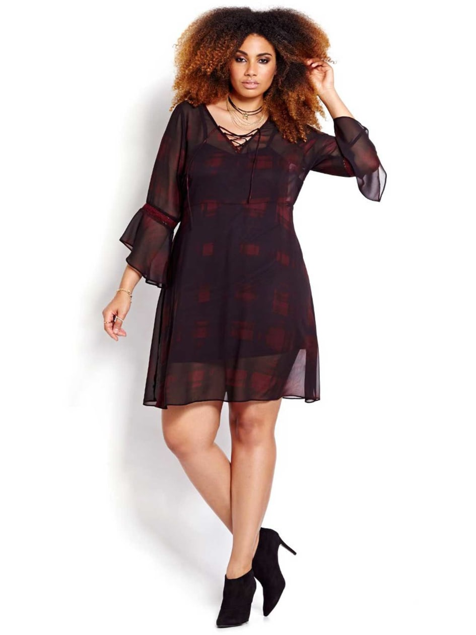 L&L Lace Up Printed Dress