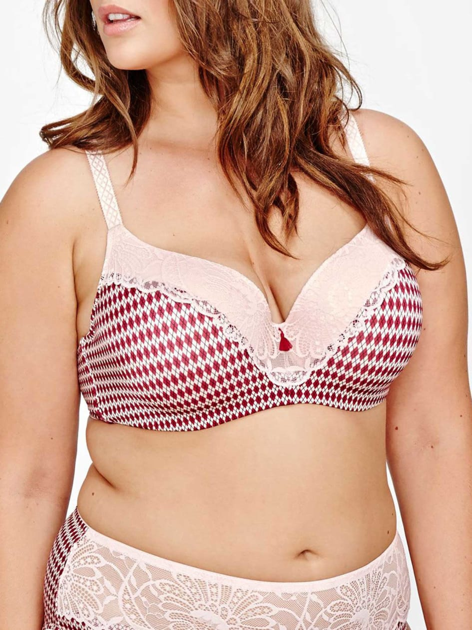 Contour Flirt Bra with Printed Argyle Design, Sizes G & H