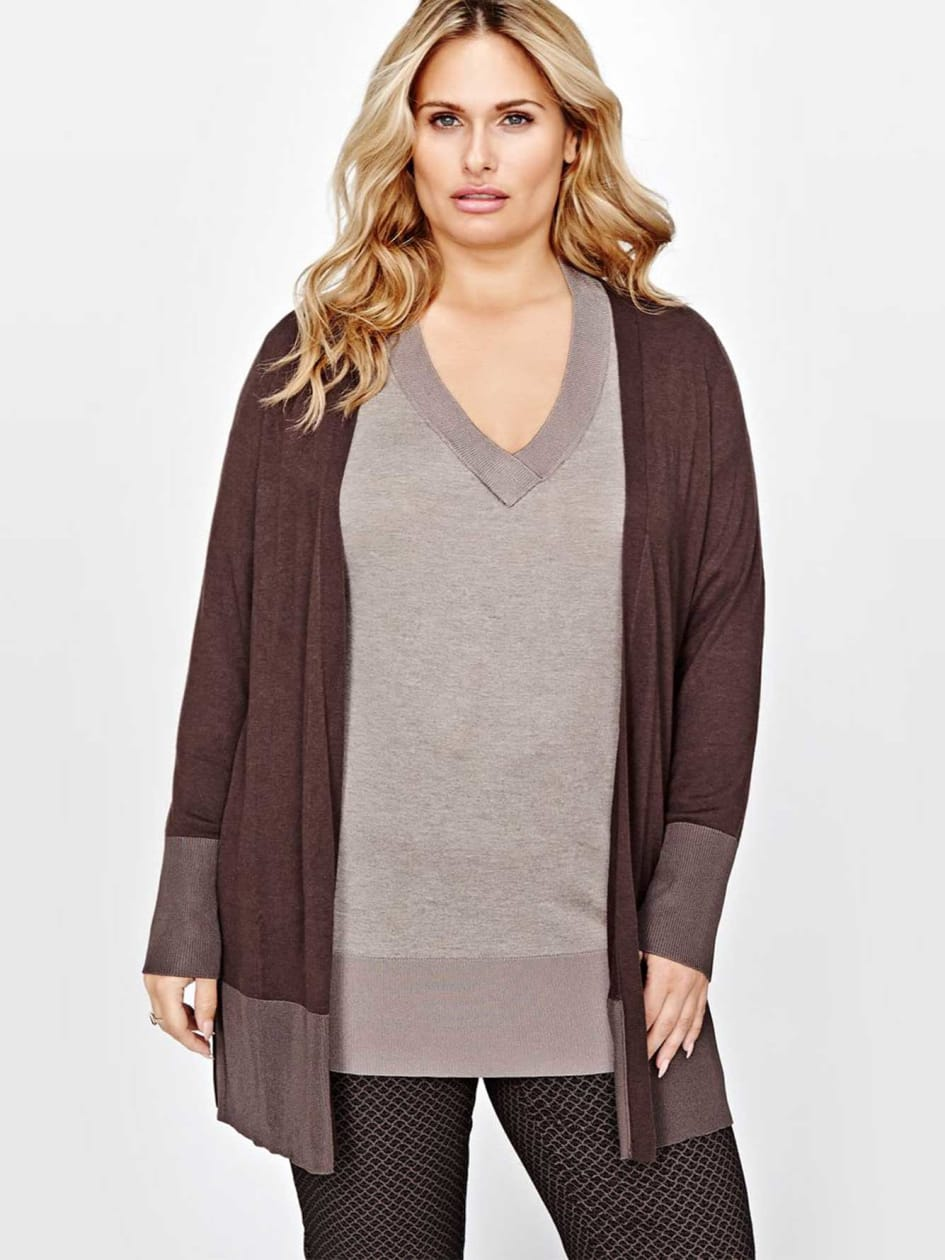Michel Studio Long-Sleeved Cardigan with Shiny Ribbed Trims