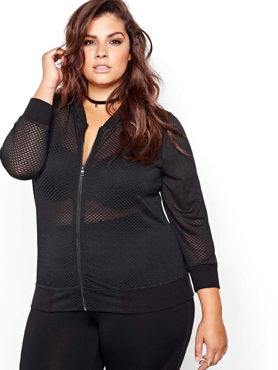 Nadia Aboulhosn Mesh Bomber Jacket for L&L