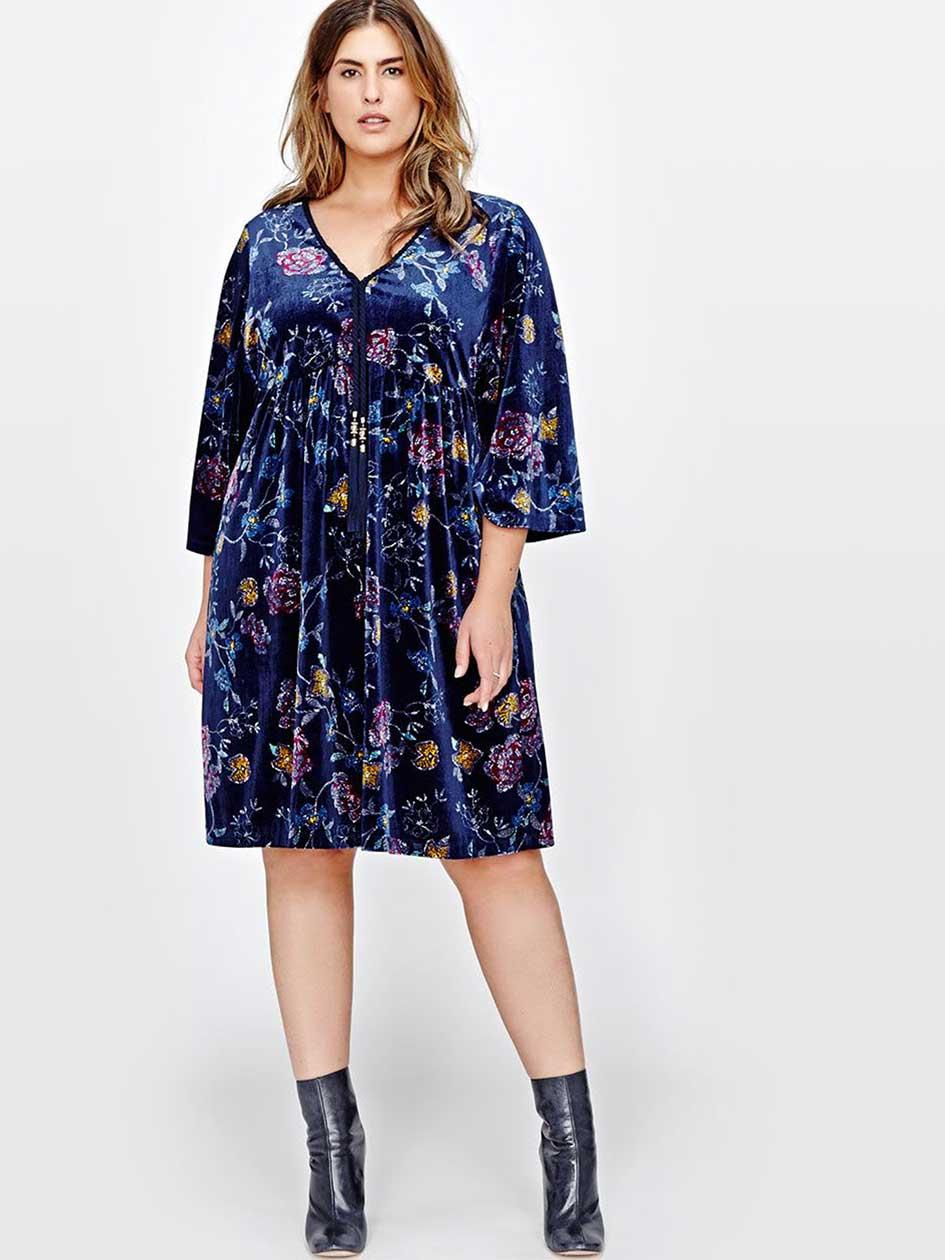 L&L Floral Velvet Kimono Dress