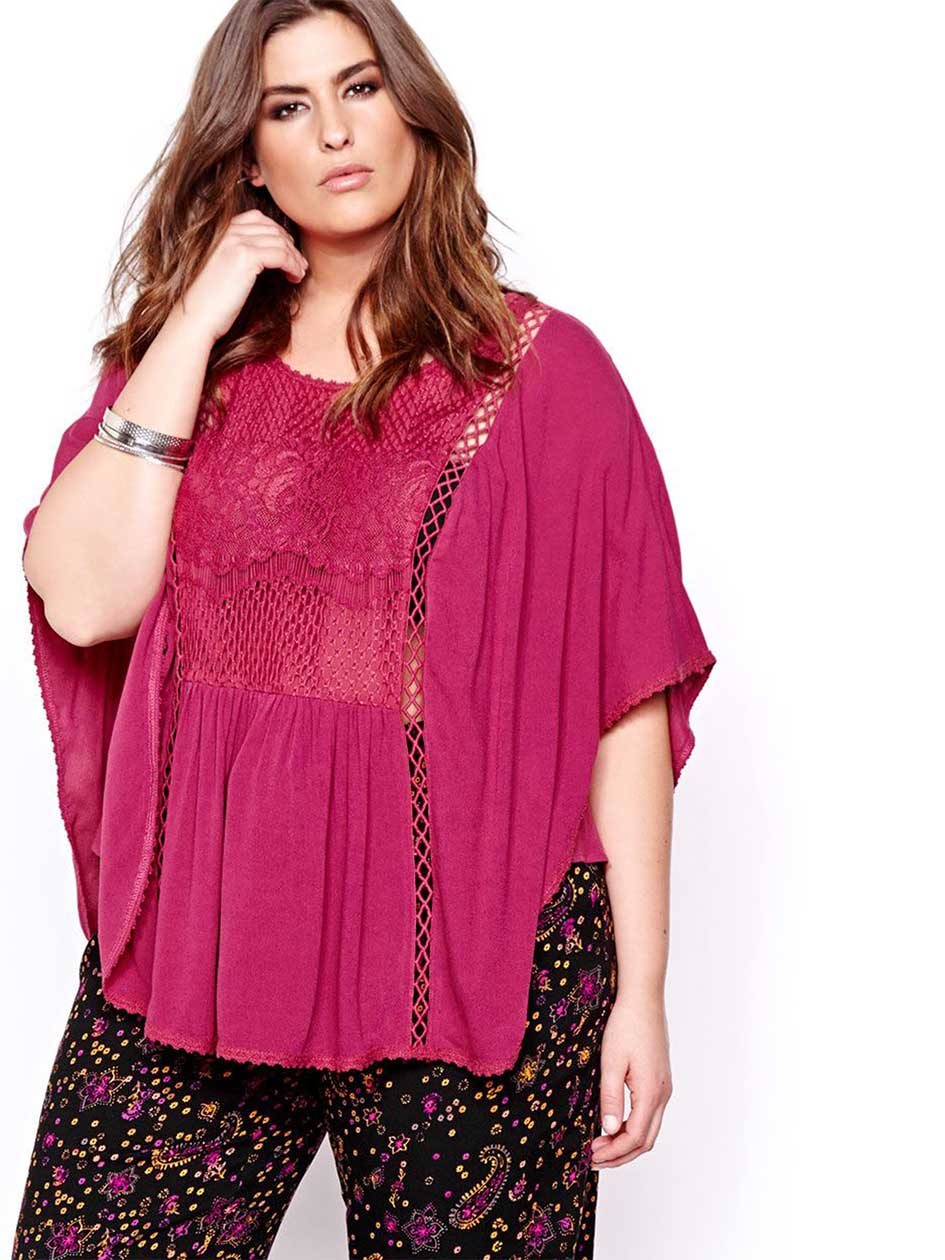 L&L Short Sleeve Blouse with Lace