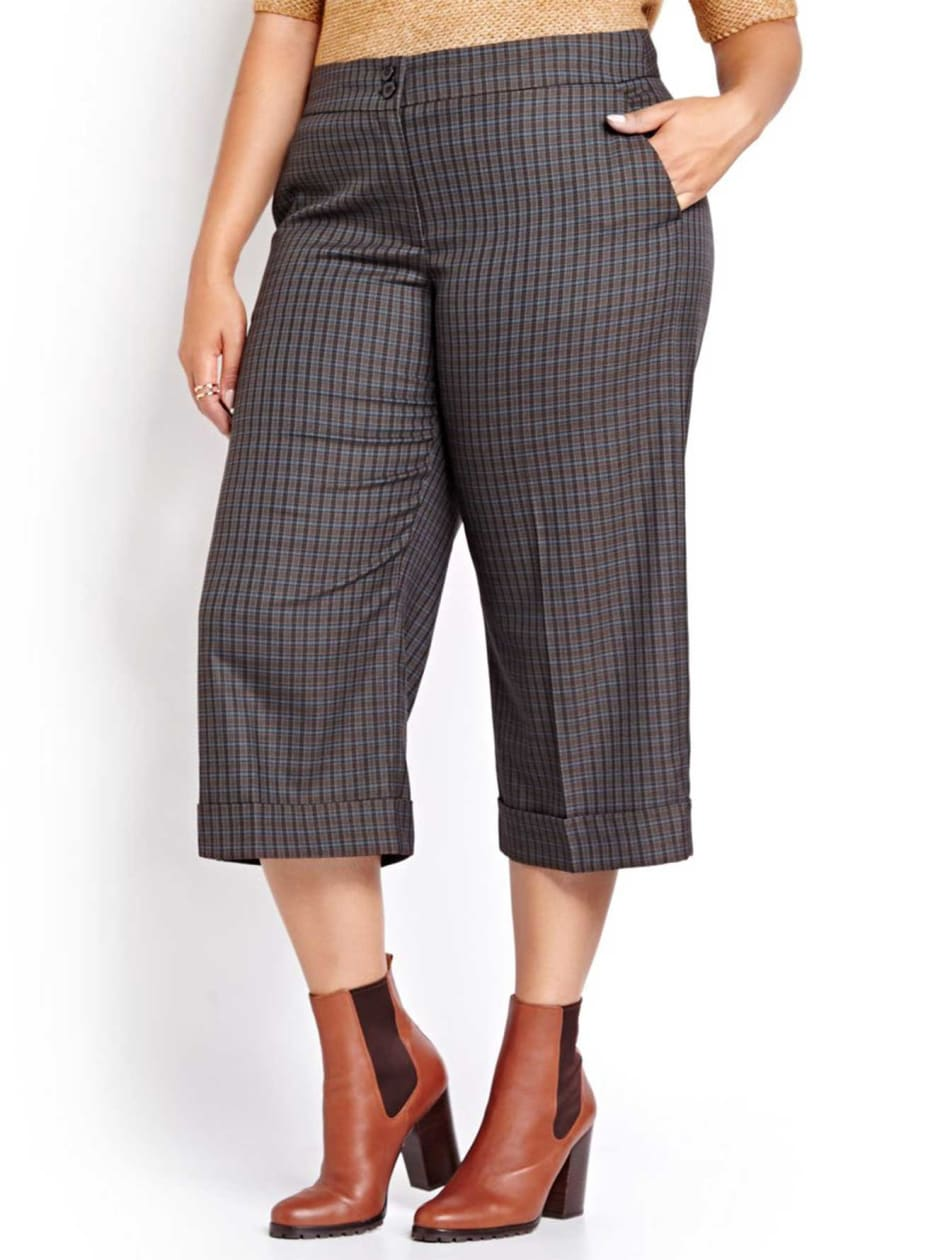 Pantalon jambe large écourté en plaid L&L