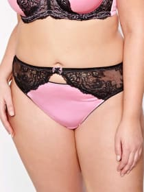 Thong with Cutout and Lace Waist - Déesse Collection