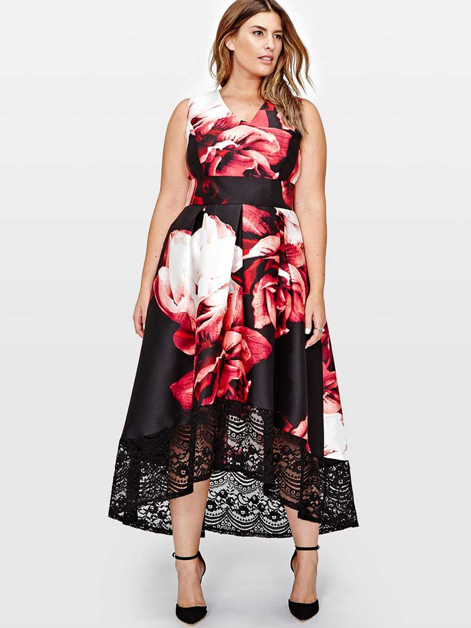Sangria Flower Print and Lace Midi Dress