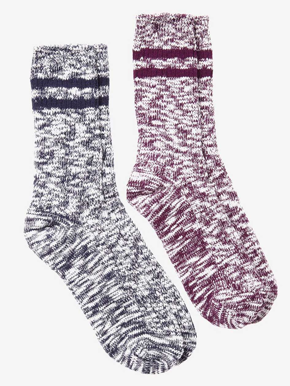 2-Pack Knitted Socks with Double Stripe