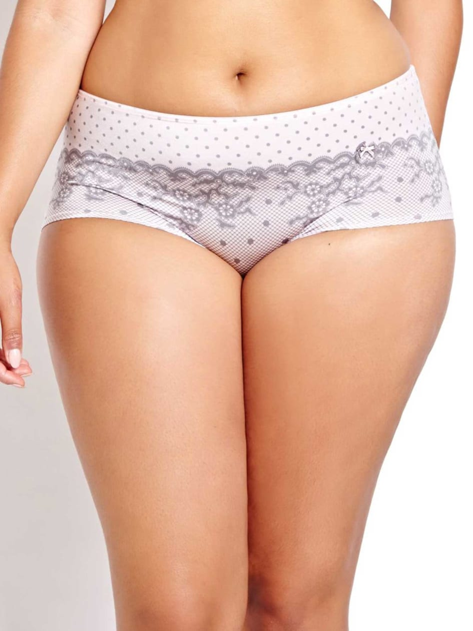Boyshort Panty with Lacy Print - Déesse Collection