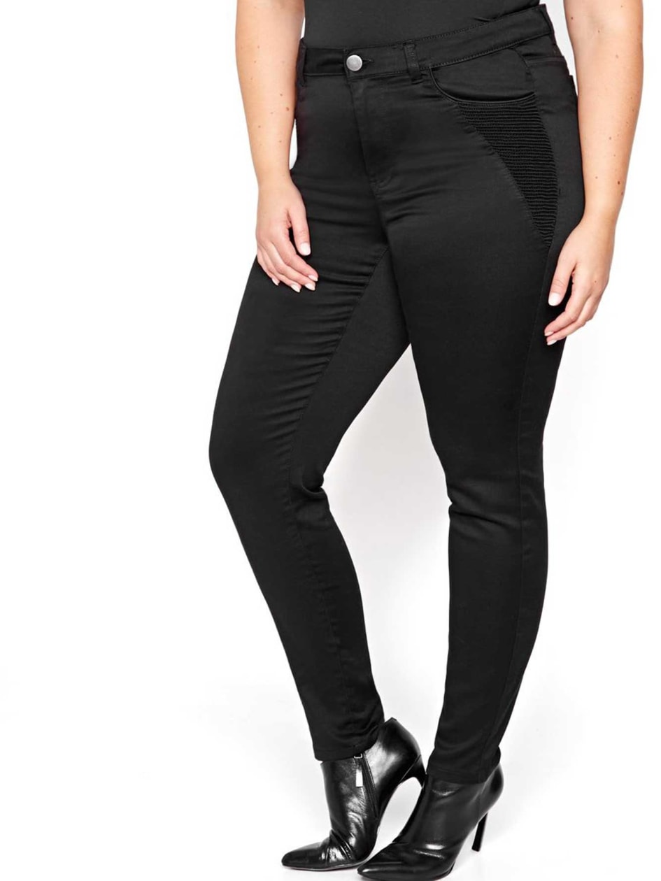 Denim skinny extensible à cinq poches long L&L