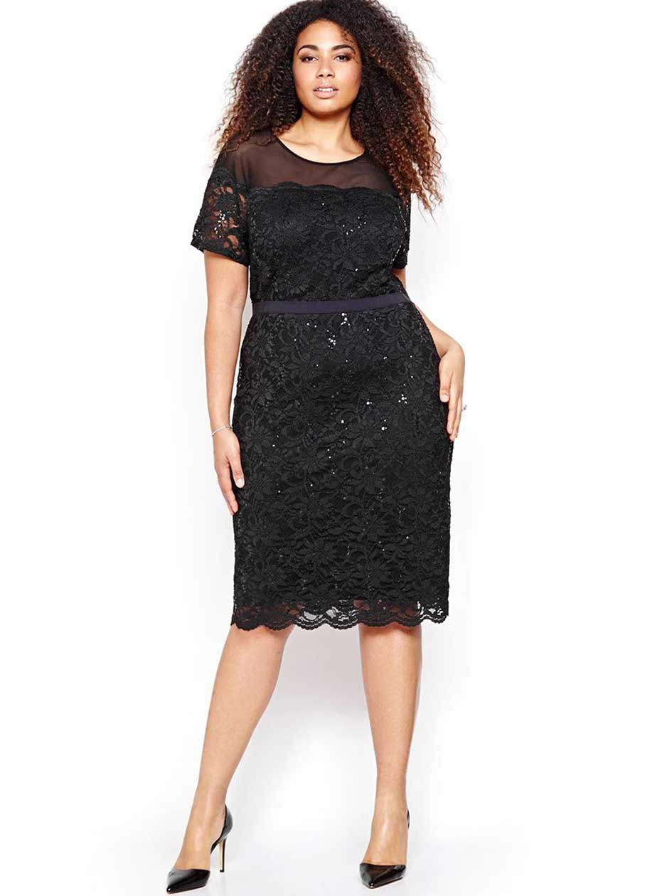 Michel Studio Lace Dress with Sequins