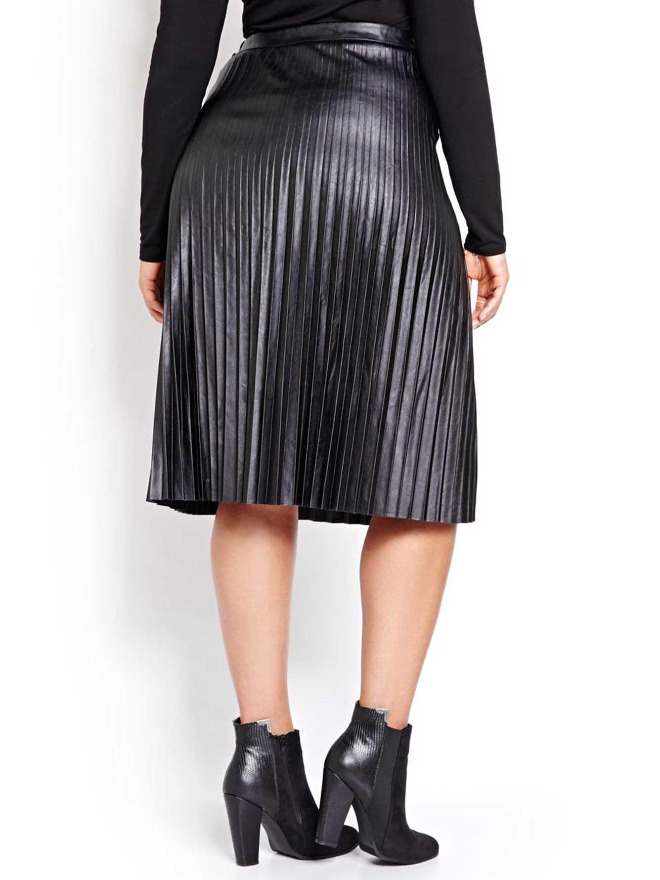 l l pleated midi pleather skirt addition