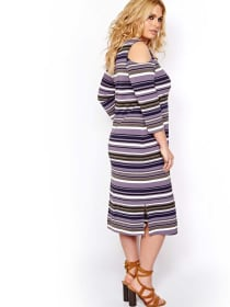 L&L Striped Cut-Out Dress