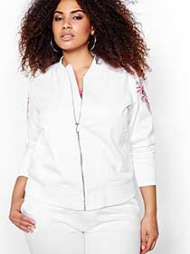 Rachel Roy Embroidered Bomber Jacket
