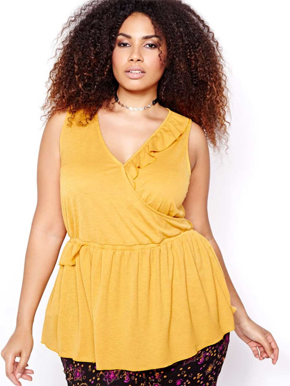 L&L Sleeveless Wrap Top with Ruffle
