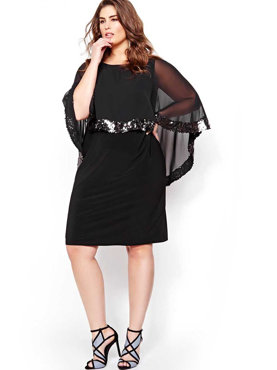 Scarlett Dress with Sequined Cape